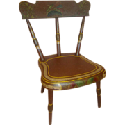 14.5 In. Tall Antique Hand Painted Wooden Doll Chair