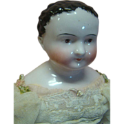 REDUCED 1840's Kinderkoph Child-like China Doll, Cloth Stuffed Body, Wood Lower Arms