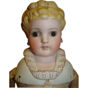 Ribbon Winner Kling #135 Parian Doll with Glass Eyes and Fancy Shoulder Plate