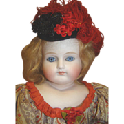 22 In. Turned Shoulder Head Bisque Lady, Closed Mouth, Glass Eyes