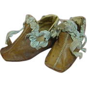 Soft Leather Shoes for a Large Doll, China, Parian or Paper Mache