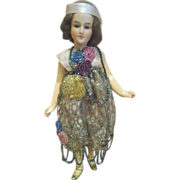 9 In. Flapper Lady Doll, Germany, Mold #300 (Marked M.H.) by Armand Marseilles