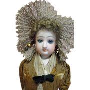13-1/2 In. Original French Bisque Ethnic Boulogne Costume Doll by F. Gaultier, Paris