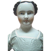 REDUCED 26 In. 1840's Rare Hairdo German China Shoulder Head Doll with Coiled Braided Bun
