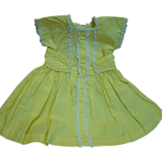 Factory Yellow Cotton Dress for a Composition or Hard Plastic Doll