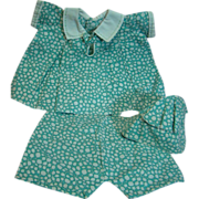 3 Piece Outfit for Chubby Composition Doll, 1930's or Early 40's, Dress, Panties ...