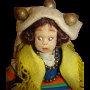 SOLD 8-1/2 In. Original Lenci Italian Felt Mascotte Doll, Felt Clothes, Holding Flowers