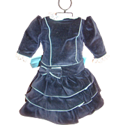 Lovely Vintage Cotton Velvet Bebe or German Doll Dress - Home Made Beautifully!  Shades of Blu