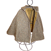 Antique Wool Tweed Lined Cape for Medium to Large French Fashion, Outstanding Accessory Item