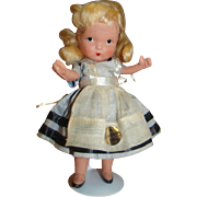 "5"" Judy Ann Alice in Wonderland Bisque Doll by Nancy Ann Abbott, California , Unplayed wi"