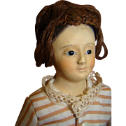 "13.5"" French Type Papier-Mache Shoulder Head Doll with Painted Pate"