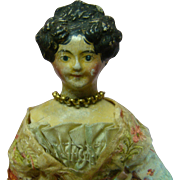 8 In. Original Molded Hair Papier-Mache Milliners' Model with Side Curls and High Beehive or A