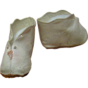 Pair of White Leather French Boots for SFBJ Character Dolls, Circa:  1900