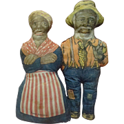 16 In. Aunt Jemima and Uncle Mose Cloth Advertising Dolls for Aunt Jemima Cornmeal; Great Amer