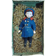 Gebruder Heubach Character Closed Mouth Pouty in Original Presentation Box, Originally Dressed