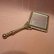 Old Tiny Beveled Hand Mirror - Perfect for a Fashion Doll's Setting