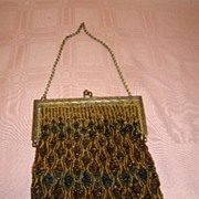 SALE Vintage Bronze and Black Glass Beaded Ladies' Evening Purse