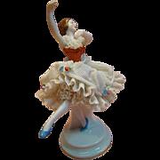 Graceful German Dresden Porcelain Figurine of Ballet Dancer