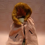 Old Hand Sewn Wool Cape with Fur Trimmed Hood, Fur Muff for Antique Doll