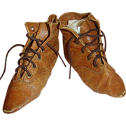 SALE Fabulous Antique Leather Boots for Large China or Paper Mache Doll
