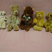 SALE Lot of Five (5) Tiny Vintage Jointed Mohair Bears
