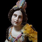 Large Breathtaking Porcelain 19th Century Native American Lady