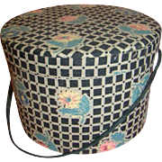 Antique Doll-Size Hat Box with Padded Top and Original Tissue