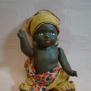 SALE 7 In. Original Paper Mache Black Toddler in African Native Costume