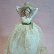 REDUCED Galluba & Hoffmann 6-3/4 In. Half Doll, Cloth Body with Bisque Legs