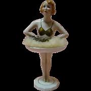 Large Art Deco Half Doll on Saucer and Pedestal Legs, Mrkd Paris France