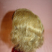 """SALE Antique Human Hair Doll Wig with Curls, Cardboard Pate, 7.5"""" h.c."""