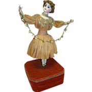 Beautiful Antique French Automaton Ballerina, Jumeau Bisque Head