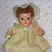"SALE PENDING 20"" Factory Original Effanbee Dy-Dee Dress / Bonnet Set -- Spring Yellow"