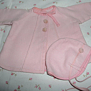 "Darling Effanbee 11"" Dy-Dee Ette Factory Original Pink Twill Coat and Bonnet Set"