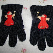 Vintage Navy Blue Wool Knit GLOVES for your Effanbee Dy-Dee / Patsy Family Dolls