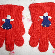Vintage RED Wool Knit GLOVES for your Effanbee Dy-Dee / Patsy Family Dolls