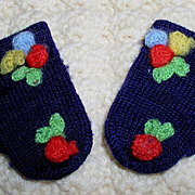 """Vintage WOOL MIttens for 11"""" to 15"""" Dy-Dee and other Dolls -- Navy Blue"""
