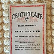 RARE 1930's Effanbee PATSY DOLL CLUB Brochure / Certificate