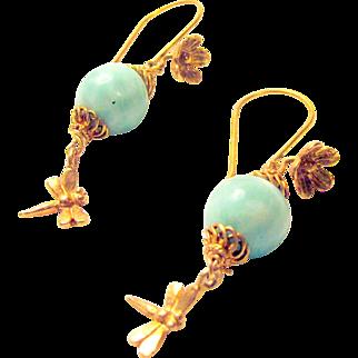 Larimar and Vermeil Dragonfly Pierced Earrings