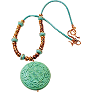Mint Green Cinnabar Greek Leather Necklace with Mandala Pendant