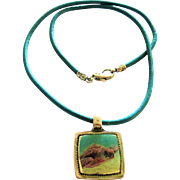 Sea Turtle Necklace with Heavy Hard Resin Pendant on Greek Leather