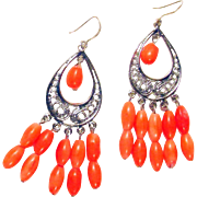 Orange Coral Multiple Stone Silver Plated Pierced Earrings