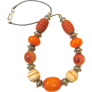Big Tibetan Beaded 21 Inch Leather Stranded Necklace