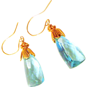 Topaz Earrings with Gold Filled Parts and Solid 18K Gold Earwires