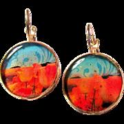 California Poppies Leverback Pierced Earrings
