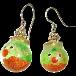 Glow in the Dark Glass Fish Pierced Earrings