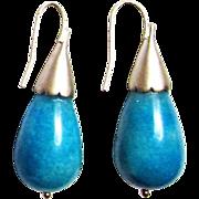Turquoise Blue Briolette Shell Pierced Earrings