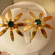SOLD Vintage  Flower w Green Rhinestone Ladies Cuff Links - Red Tag Sale Item