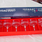 Cristal D'arques Set of 6 Longchamp Lead Crystal Glass Goblets