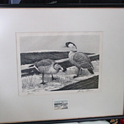 Stanley Stearns Nene (Hawaiian Geese) 1964-1965 Federal Duck Stamp Print & Stamp